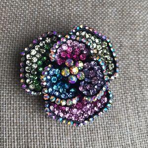 Flower Brooche pastel colors black background NWOT